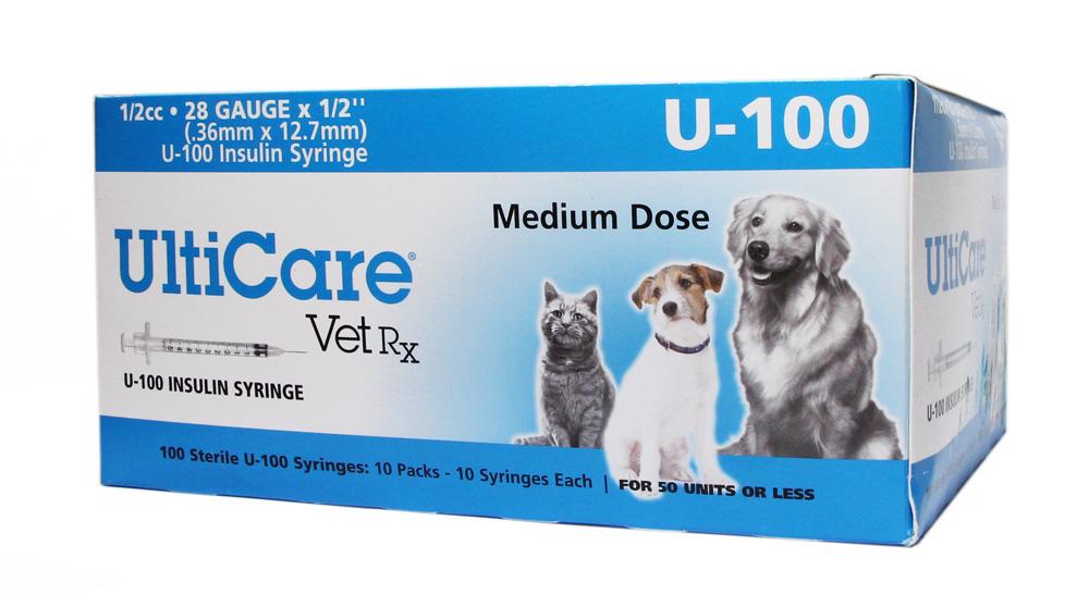 """U-100 Insulin Syringe 1/2cc 28 Gauge 1/2"""" Medium Dose 100 C"""