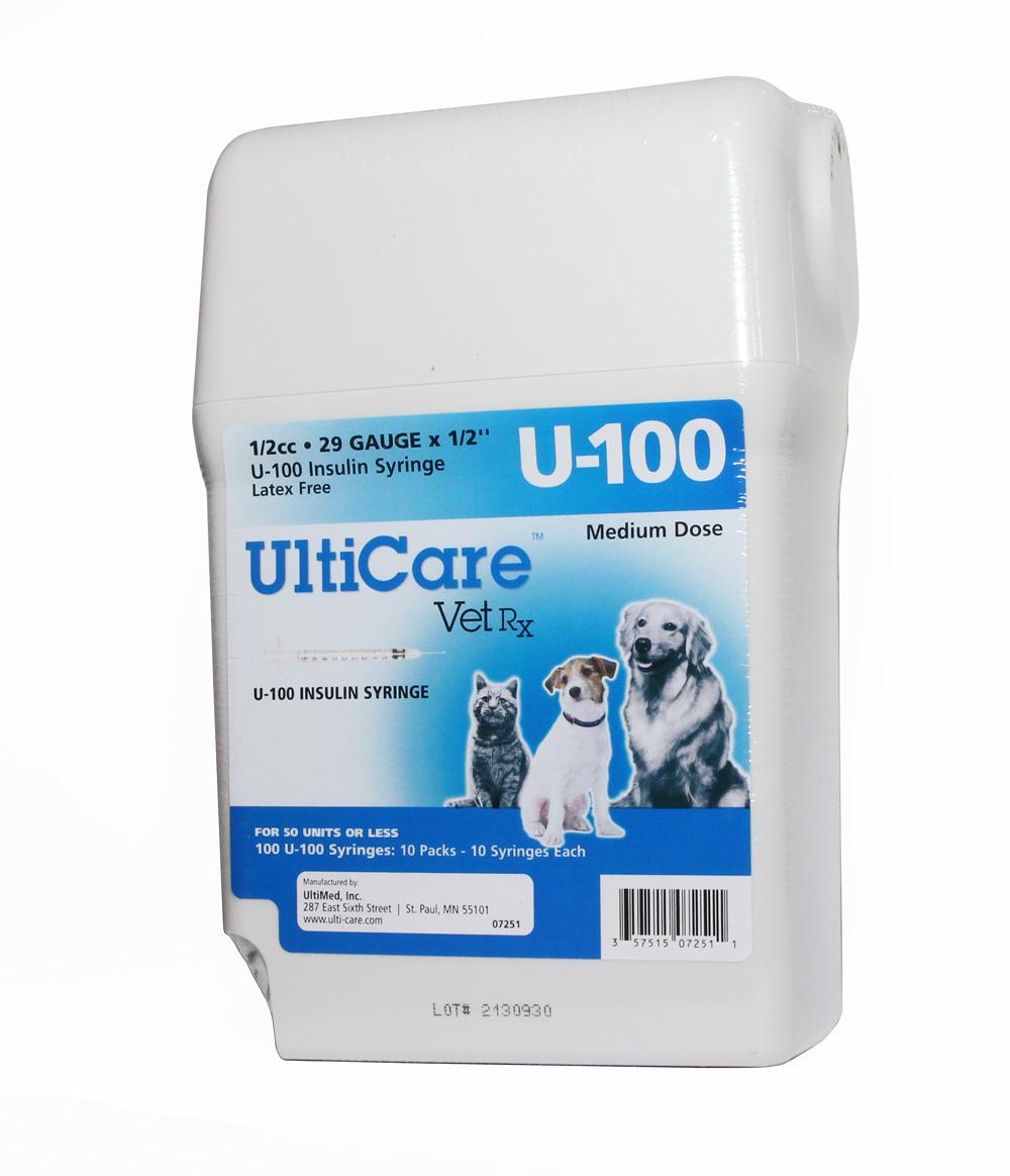 "Ultiguard U-100 Syringes 1/2cc 29 Gauge 1/2"" (Medium Dose)"