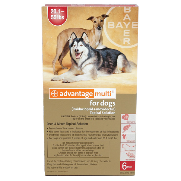 Advantage Multi For Dogs 20 1 55 Lbs 12 Pack