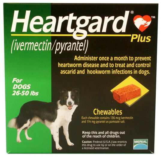1 MONTH Heartgard Plus Green for Dogs 2650 lbs