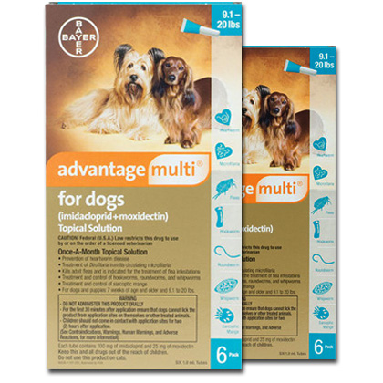 Advantage Multi For Dogs 9 1 20 Lbs 12 Pack