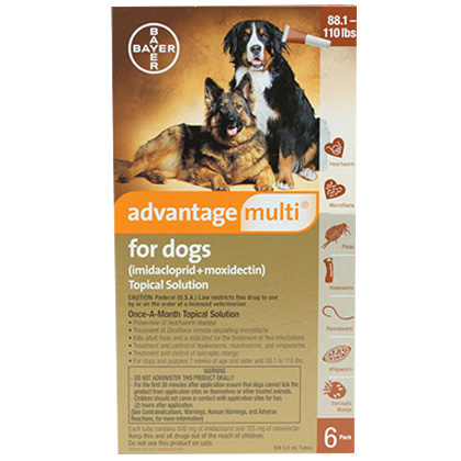 Advantage Multi For Dogs 88 1 110 Lbs 6 Pack