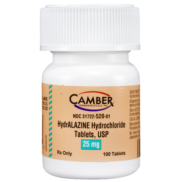Hydralazine Hcl 25mg 100 Tablets