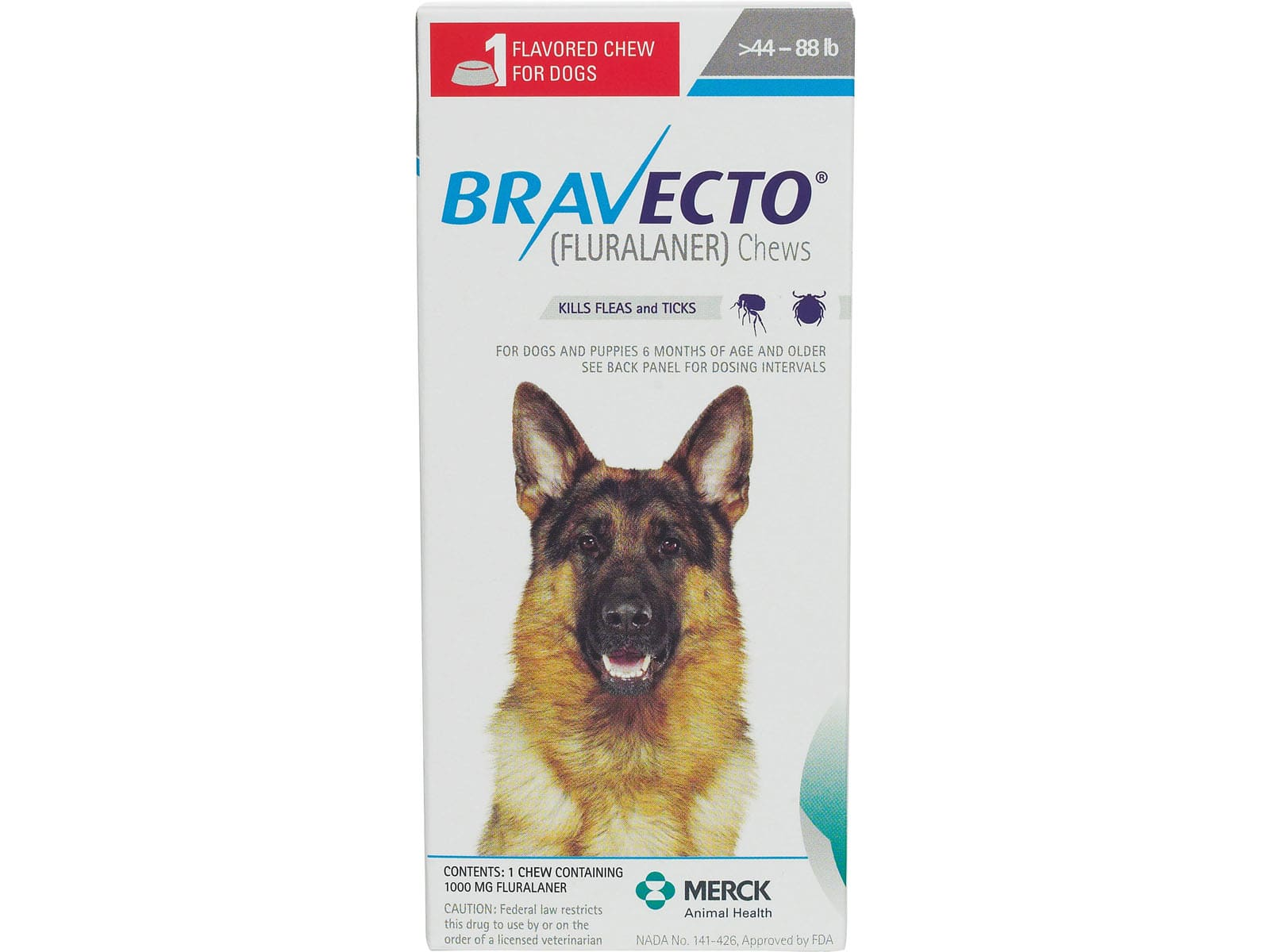 Spectrum Tampa Fl >> Bravecto 1000 mg for dogs 44-88 lbs 1 TABLET
